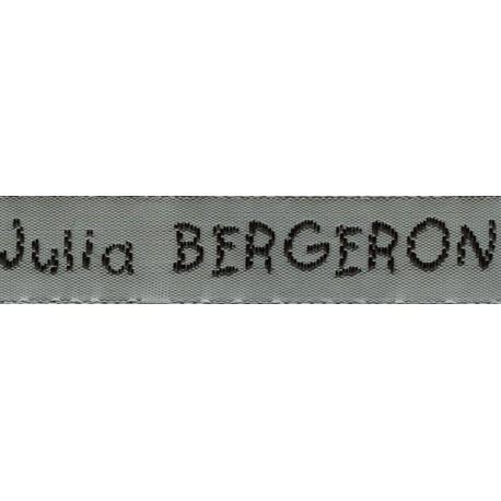 Woven labels, Model V - Grey 12mm ribbon - Black lettering