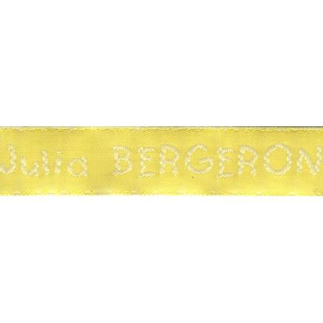 Etiquettes tissées Modèle V - Ruban Jaune 12 mm - Lettrage Blanc