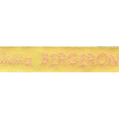 Etiquettes tissées Modèle V - Ruban Jaune 12 mm - Lettrage Rose