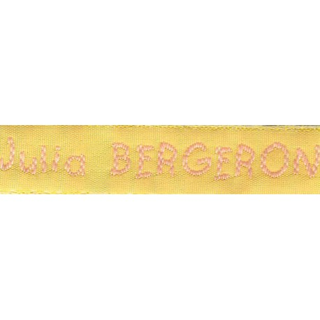 Woven labels, Model V - Yellow 12mm ribbon - Pink lettering