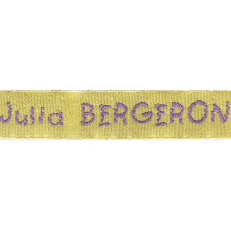 Woven labels, Model V - Yellow 12mm ribbon - Violet lettering