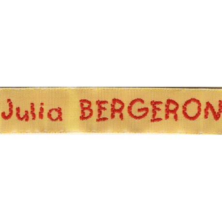 Woven labels, Model V - Yellow 12mm ribbon - Red lettering