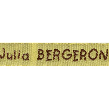 Woven labels, Model V - Yellow 12mm ribbon - Brown lettering
