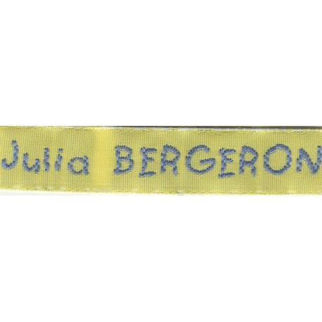 Woven labels, Model V - Yellow 12mm ribbon - Sky-blue lettering