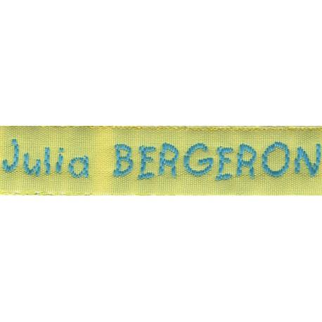 Etiquettes tissées Modèle V - Ruban Jaune 12 mm - Lettrage Turquoise