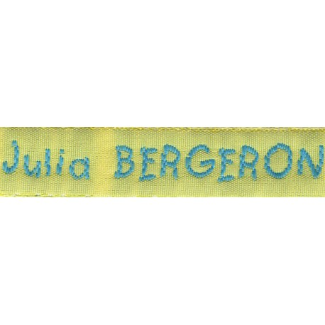 Woven labels, Model V - Yellow 12mm ribbon - Turquoise lettering