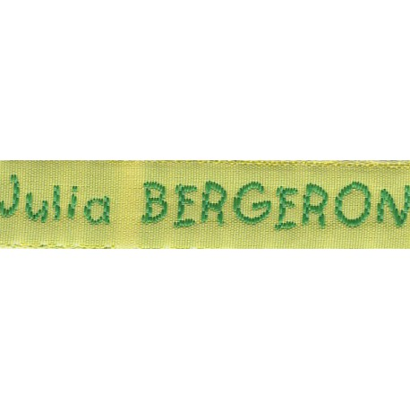 Woven labels, Model V - Yellow 12mm ribbon - Green lettering