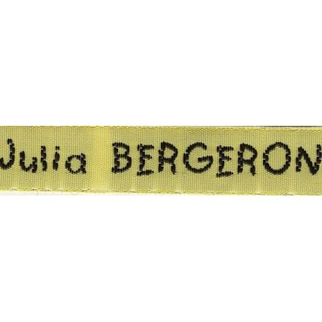 Woven labels, Model V - Yellow 12mm ribbon - Black lettering