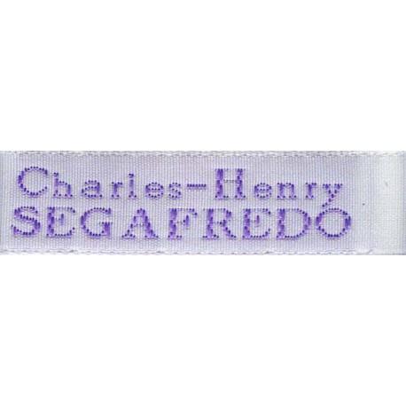 Woven labels, Model X - White 12mm ribbon - Violet lettering