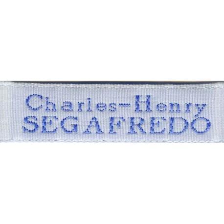 Woven labels, Model X - White 12mm ribbon - Sky-blue lettering