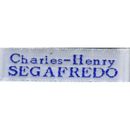 Woven labels, Model X - White 12mm ribbon - Royal blue lettering