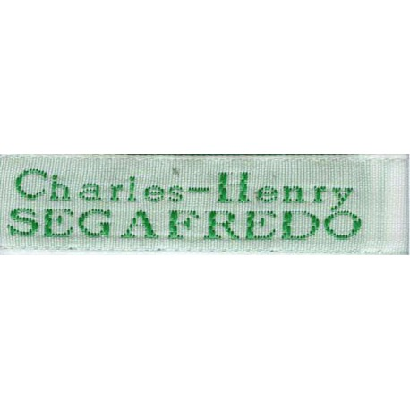 Woven labels, Model X - White 12mm ribbon - Green lettering