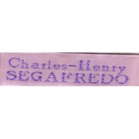 Woven labels, Model X - Pink 12mm ribbon - Violet lettering