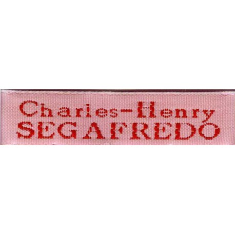 Woven labels, Model X - Pink 12mm ribbon - Red lettering