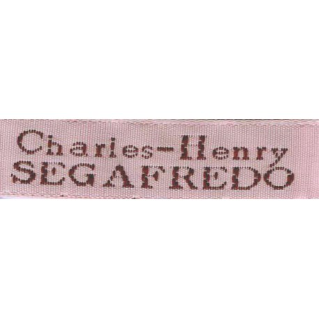 Woven labels, Model X - Pink 12mm ribbon - Brown lettering