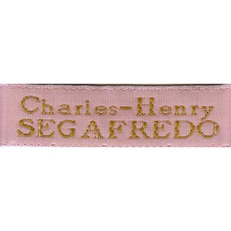 Woven labels, Model X - Pink 12mm ribbon - Antique Gold lettering