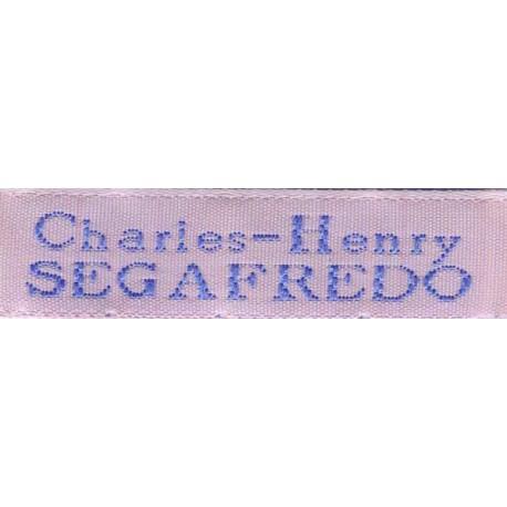 Woven labels, Model X - Pink 12mm ribbon - Sky-blue lettering