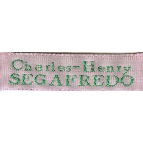 Woven labels, Model X - Pink 12mm ribbon - Green lettering