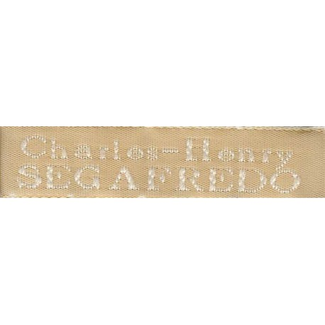 Woven labels, Model X - Beige 12mm ribbon - White lettering