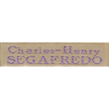 Woven labels, Model X - Beige 12mm ribbon - Violet lettering