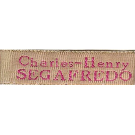 Woven labels, Model X - Beige 12mm ribbon - Fuchsia lettering