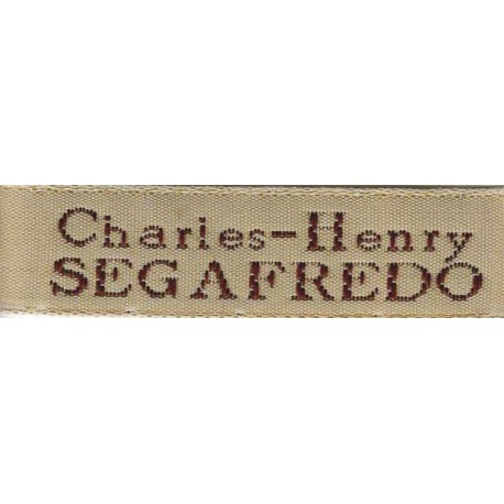 Woven labels, Model X - Beige 12mm ribbon - Brown lettering