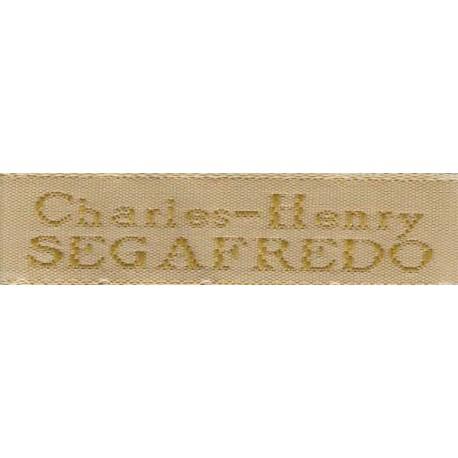 Woven labels, Model X - Beige 12mm ribbon - Antique Gold lettering