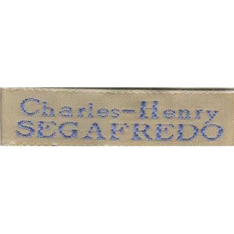 Woven labels, Model X - Beige 12mm ribbon - Sky-blue lettering