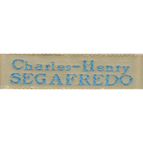 Woven labels, Model X - Beige 12mm ribbon - Turquoise lettering