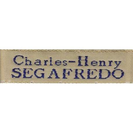 Woven labels, Model X - Beige 12mm ribbon - Navy lettering