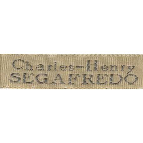 Woven labels, Model X - Beige 12mm ribbon - Grey lettering