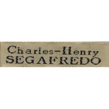 Woven labels, Model X - Beige 12mm ribbon - Black lettering