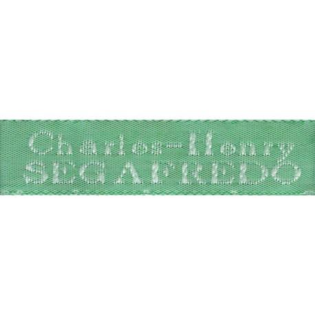 Woven labels, Model X - Green 12mm ribbon - White lettering