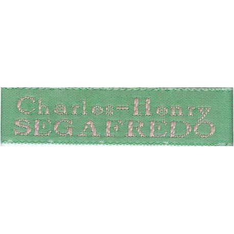 Woven labels, Model X - Green 12mm ribbon - Pink lettering