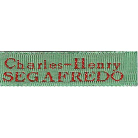 Woven labels, Model X - Green 12mm ribbon - Red lettering