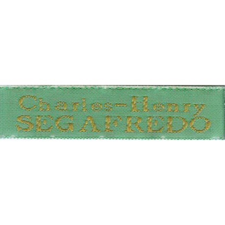 Woven labels, Model X - Green 12mm ribbon - Antique Gold lettering