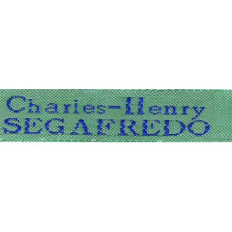 Woven labels, Model X - Green 12mm ribbon - Royal blue lettering