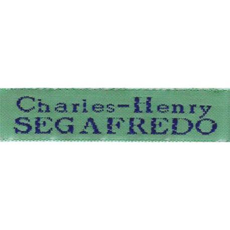 Woven labels, Model X - Green 12mm ribbon - Navy lettering