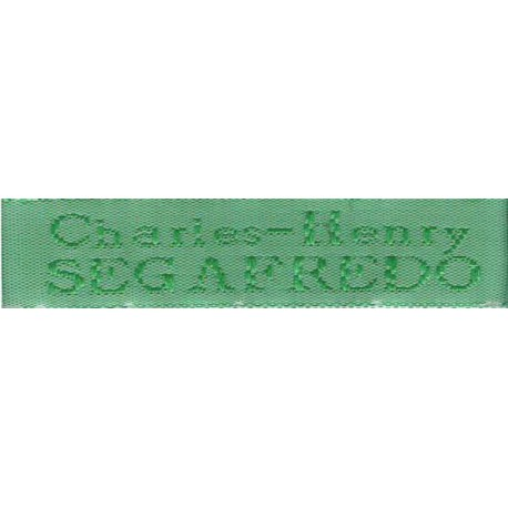 Woven labels, Model X - Green 12mm ribbon - Green lettering