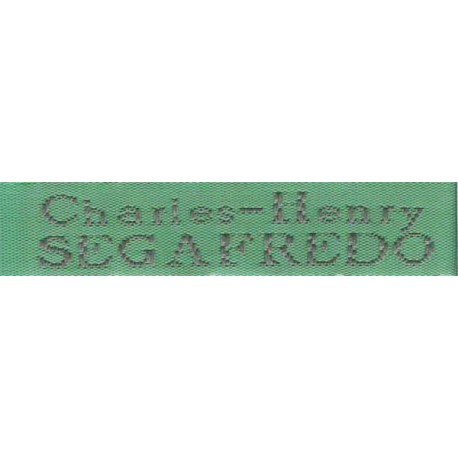 Woven labels, Model X - Green 12mm ribbon - Grey lettering