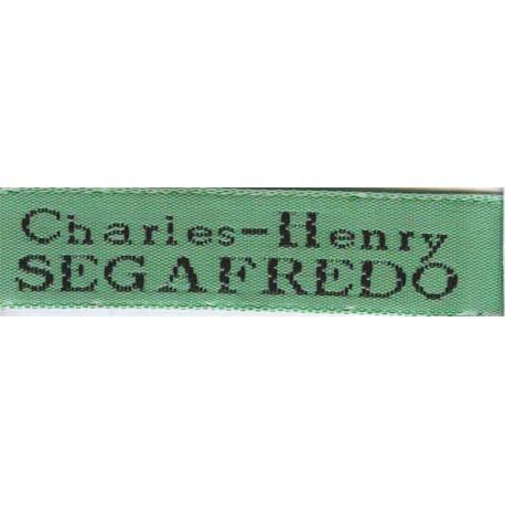 Woven labels, Model X - Green 12mm ribbon - Black lettering