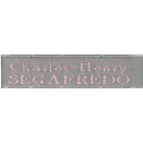 Woven labels, Model X - Grey 12mm ribbon - Pink lettering
