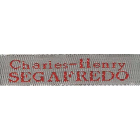Woven labels, Model X - Grey 12mm ribbon - Red lettering