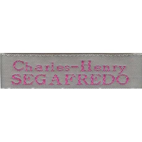 Woven labels, Model X - Grey 12mm ribbon - Fuchsia lettering