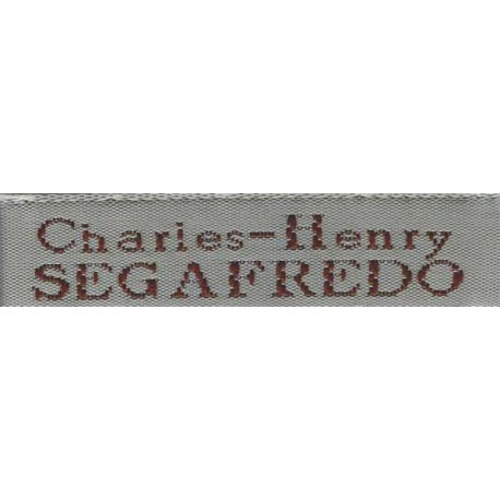 Woven labels, Model X - Grey 12mm ribbon - Brown lettering