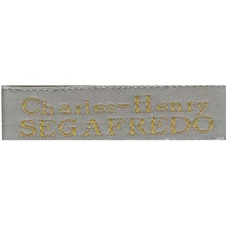 Woven labels, Model X - Grey 12mm ribbon - Antique Gold lettering