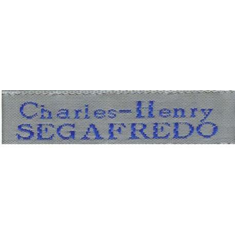 Woven labels, Model X - Grey 12mm ribbon - Royal blue lettering