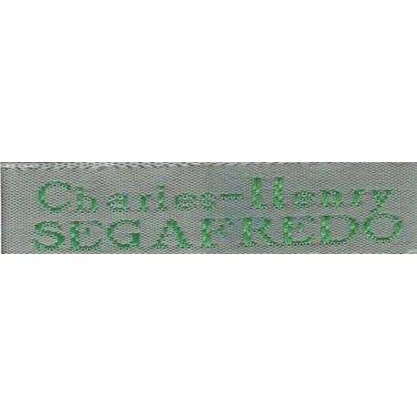 Woven labels, Model X - Grey 12mm ribbon - Green lettering