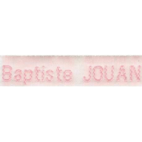 Etiquettes tissées Modèle Z - Ruban Blanc 12 mm - Lettrage Rose