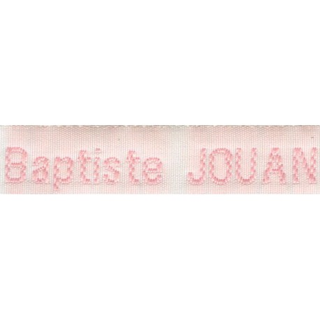 Woven labels, Model Z - White 12mm ribbon - Pink lettering